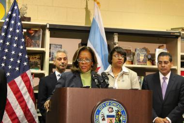 Barbara Byrd-Bennett addresses the media after being introduced by Mayor Emanuel (background) as head of the Chicago Public Schools on Oct. 12, 2012.