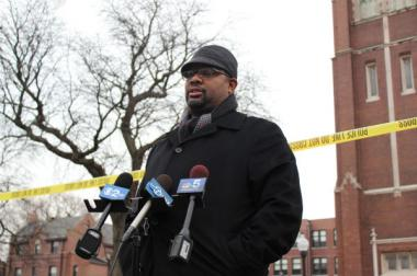 The Rev. Corey Brooks speaking to reporters on Nov. 26, 2012.