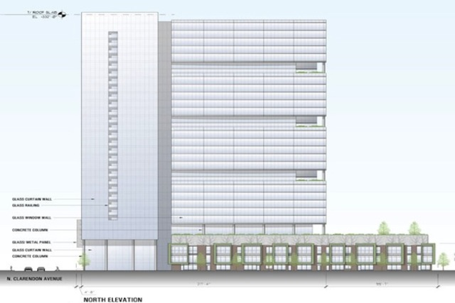<p>A rendering shows a proposed $220 million mixed-use development at North Clarendon and West Montrose avenues in the Clarendon/Montrose TIF district.</p>