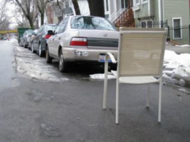 A collection of photos of junk used by drivers to save their parking spots after a winter storm.