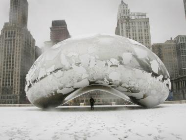 Snow blankets Millennium Park in December 2006.