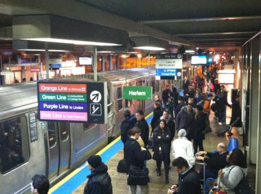 "All CTA ""L"" trains were running with weather-related delays Monday morning."