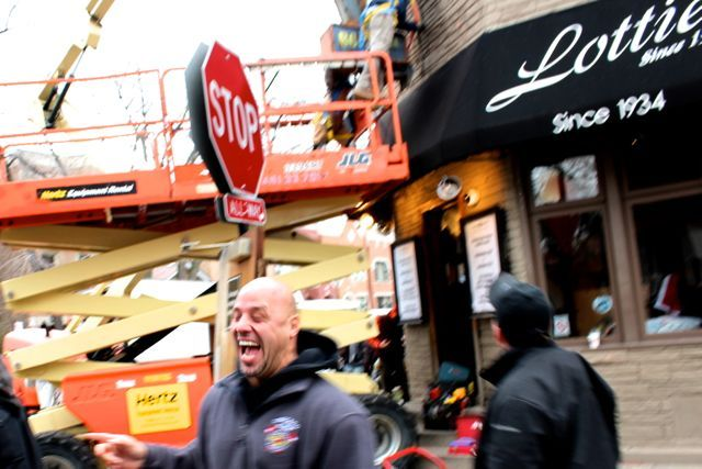 <p>Douglas Perez, 40, a driver on the set of NBC&#39;s &quot;Chicago Fire&quot; enjoys a hearty laugh Tuesday. The show will film a &quot;simulated emergency&quot; Wednesday and Thursday at Bucktown&#39;s Lottie&#39;s Pub, 1925 W. Cortland Ave., as part of episode 14.</p>