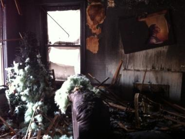 The living room of the apartment that burned on the 4200 block of W. 21st Place. A 30-year-old woman was killed in the blaze.