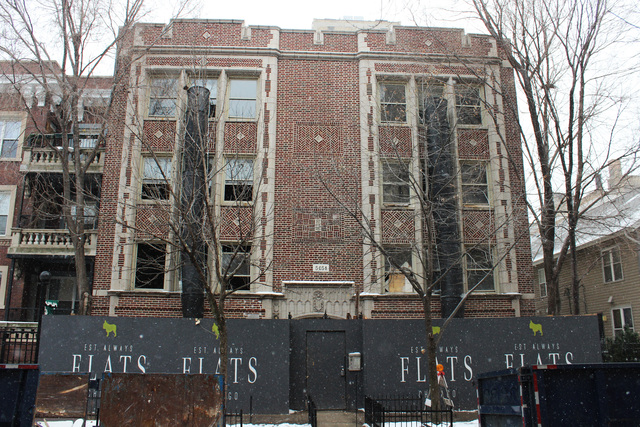 <p>The FLATS Chicago building at 5051 N. Kenmore Ave. in Edgewater is under renovation.</p>