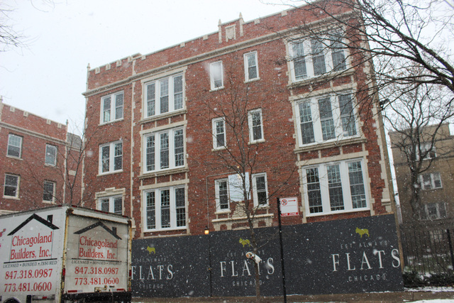 <p>The FLATS Chicago building at 7722 N. Ashland Ave. in Rogers Park is under renovation.</p>