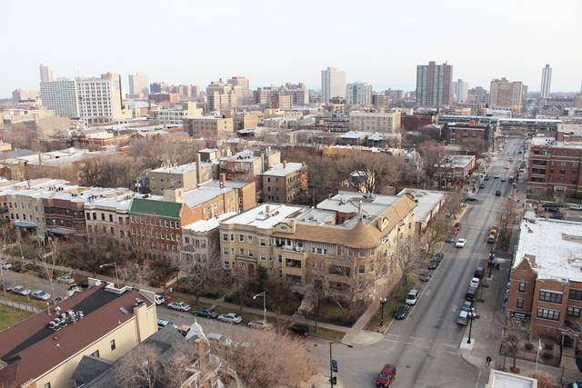 <p>The view from the Wilson Apartments, a building developer Jay Michael bought and is renovating in Uptown. The developer has bought six other buildings on the North Side.</p>