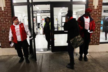 "Guardian Angel passed out fliers to commuters Thursday at the Morse ""L"" stop after a woman was sexually assaulted at the Lunt entrance the morning before."
