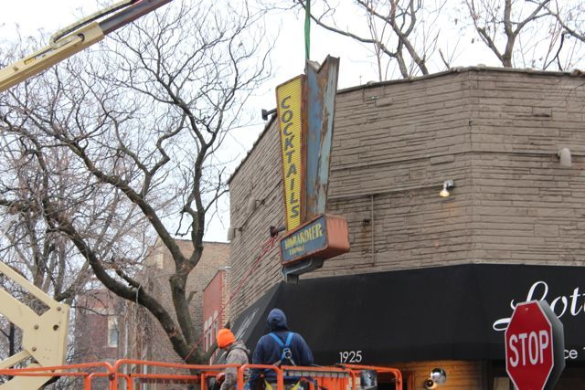 <p>A sign advertising &quot;Bombardier Lounge&quot; will hang at Lottie&#39;s Pub, 1925 W. Cortland Ave., during the two-day filming of a &quot;simulated emergency&quot; scene for the NBC drama &quot;Chicago Fire.&quot;</p>