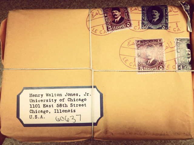 <p>The stamps were fake - the package never went through the postal service.</p>