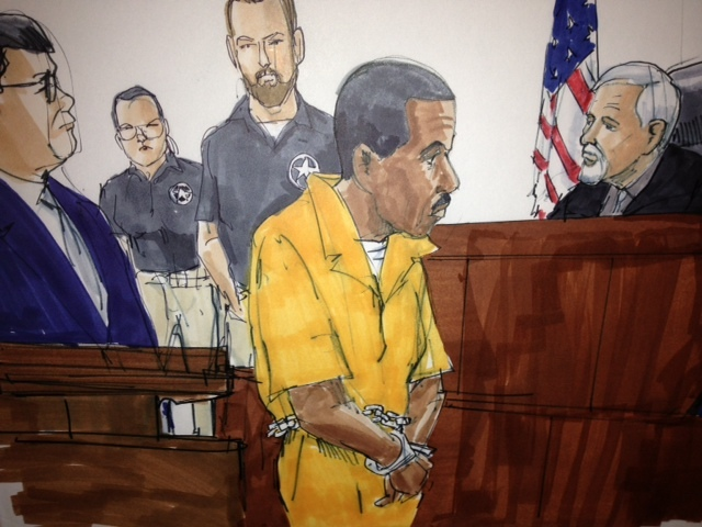 <p>A sketch from Joseph &quot;Jose&quot; Banks&#39; appearance in court Friday after his arrest in the 2300 block of North Bosworth Avenue.</p>