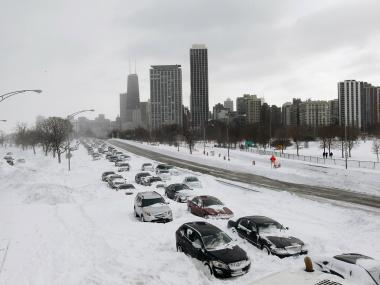 Cars sit in the northbound lanes of Lake Shore Drive after accidents and drifting snow stranded the drivers during the Groundhog Day Blizzard of 2011.