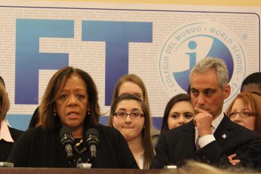 "With Mayor Emanuel looking on, CPS CEO Barbara Byrd-Bennett calls the IB program ""a critical component of our overall strategy of increasing access to high-quality schools."""