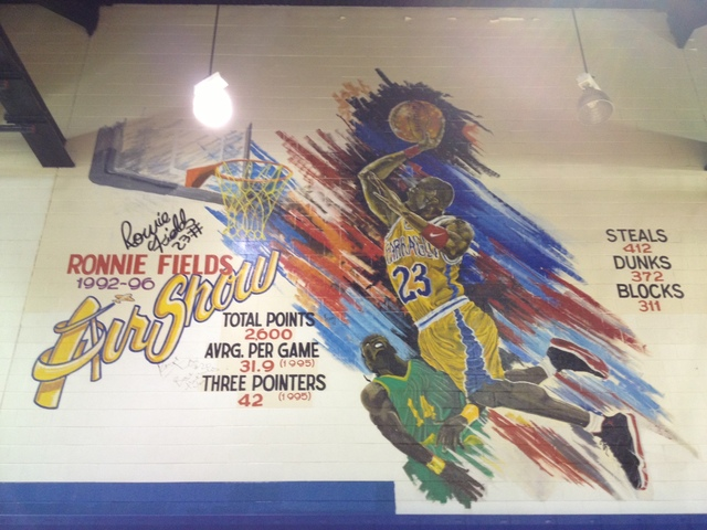 <p>A mural at the Farragut gym honors Ronnie Fields.</p>