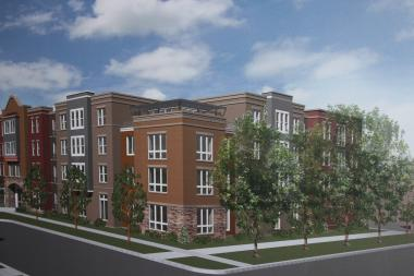 An architect's rendering shows a proposed senior housing apartment complex from Kilpatrick and Berteau avenues.