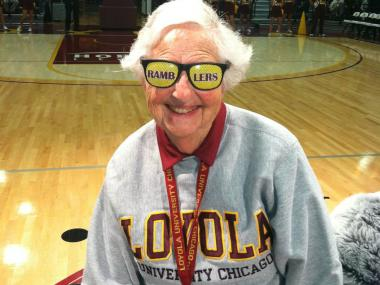 Sister Jean Dolores Schmidt, 93, has been part of the Loyola University community for 51 years, and she celebrated her 75th anniversity as a nun earlier this year. Schmidt, the team chaplain for Loyola's men's basketball team, is considered by many to be the Ramblers' No. 1 fan. She's seen here at Loyola's Midnight Madness on Oct. 12.