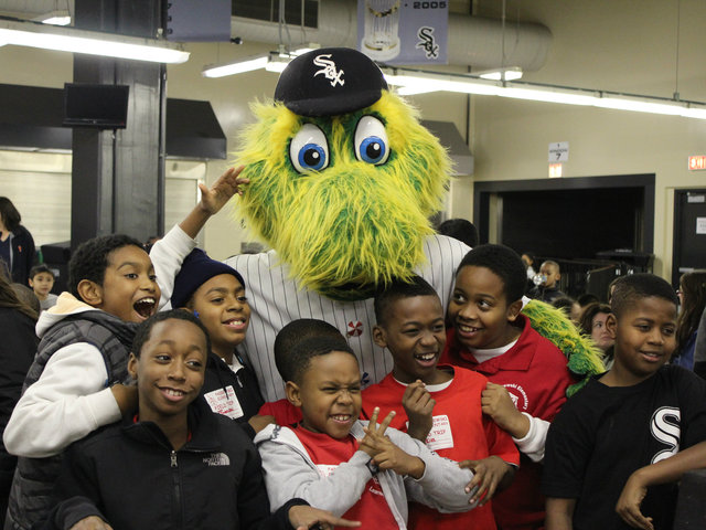 <p>The White Sox mascot &quot;Southpaw&quot; was a big hit, especially with this group from Ignance Padarewski Elementary.</p>