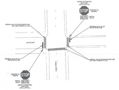 A map from the Chicago Department of Transportation shows planned upgrades to the intersection at 24th Place and Canal Street.