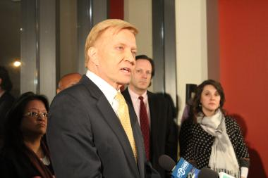 "Ald. Bob Fioretti (2nd) said the city's plans to double the size of Jones College Prep by using the old Jones building — which the alderman wanted to use for a neighborhood school — were ""unacceptable."" Jan. 22, 2012"