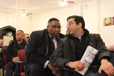 Ald. Scott Waguespack (32nd) and Ald. Jason Ervin (28th) exchanged words at Thursday's meeting regarding an express bus lane proposal along Western and Ashland avenues.