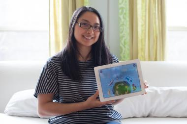 "Bronzeville resident Alice Zhao is one of the co-creators of ""Gus on the Go,"" an app teaching children how to learn different languages. Several Chicago residents provide their voices for the languages."