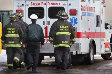 The Chicago Fire Department said two firefighters were hospitalized during a rapidly spreading blaze early Tuesday.