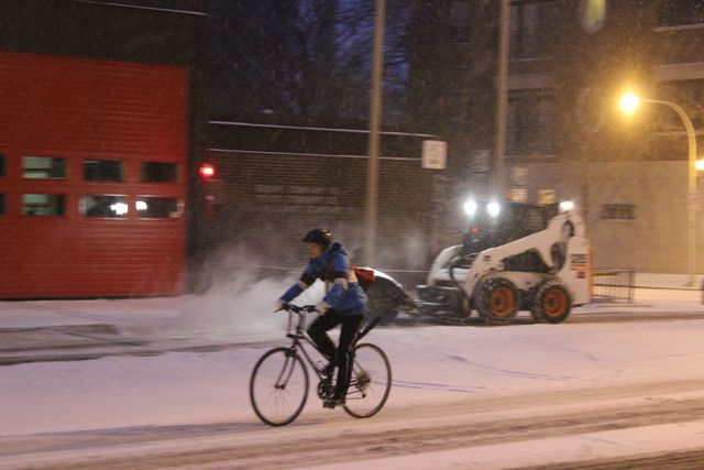 <p>Friday morning&#39;s snow was not enough to deter some bicyclists, like this intrepid traveler on West Wilson Avenue in Uptown.</p>
