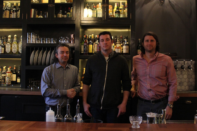 <p>Chief mixologist Alex Bachman (center) with owners Matthias Merges (left) and Brian Tijan.</p>