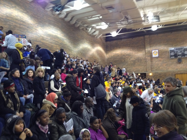 <p>About 200 people pack the bleachers at the event.</p>