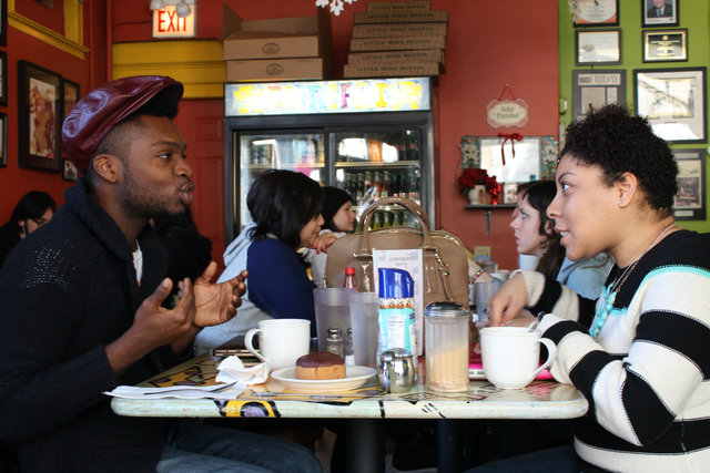 <p>Local fashion designer Redgi Woods (left) enjoys lunch at the cafe with Terez Baskin, a fashion media marketer.</p>