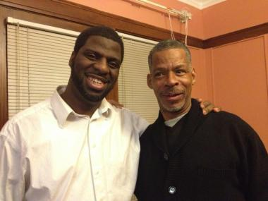 "Brian Tillman (r.) recently reunited with his son, Grammy-award winning musician Che ""Rhymefest"" Smith, after being absent from his life the last 23 years. Smith shared this image on Twitter with the message: Today's word is #FORGIVENESS."