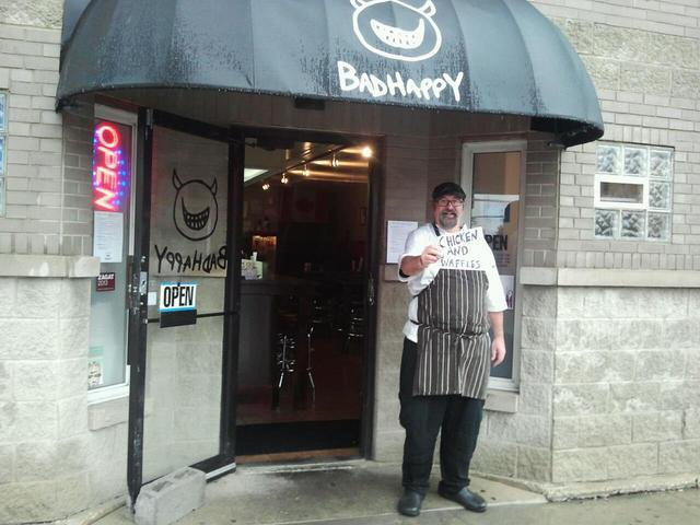 <p>Tom Kern, head chef and owner of BadHappy, poses in front of the River North shop.</p>