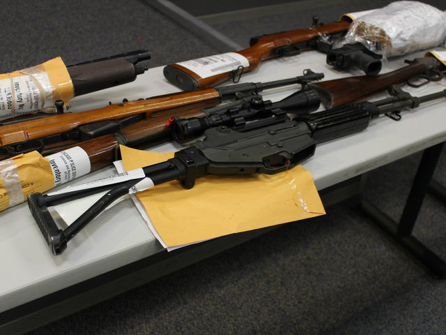 <p>A small sampling of firearms police say were seized from city streets.</p>