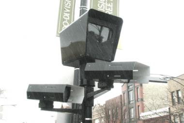 One of Chicago's nearly 400 red light cameras stands watch at the corner of Damen and Division in the Wicker Park neighborhood.