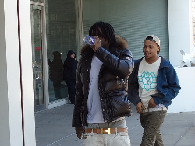 <p>Chief Keef (foreground) heads to court Jan. 2.</p>