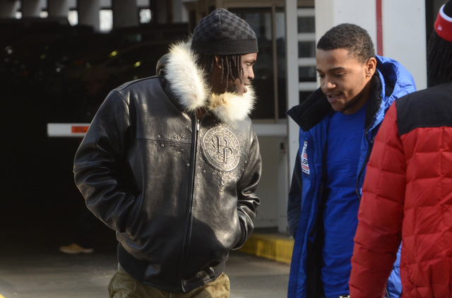 <p>Chief Keef (l.) arrives at Juvenile Court Tuesday.</p>