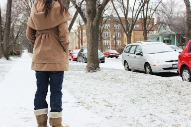 Clarie, 23, who wished to keep her full name secret, stands in the spot she said she was groped by an unknown attacker on Jan. 19. She was shoved into a car before she managed to escape, she said.
