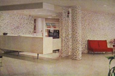 An old view of Cuneo Memorial Hospital's lobby