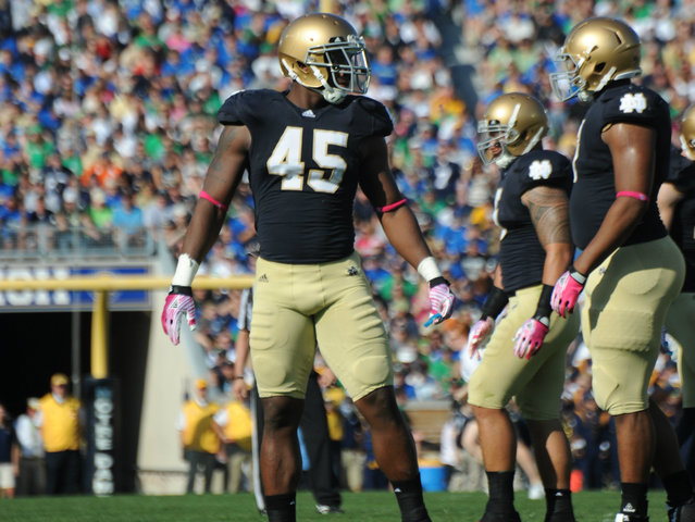 <p>Notre Dame outside linebacker Darius Fleming was drafted by the San Francisco 49ers in the 2012 NFL draft.</p>