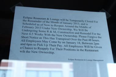 A letter posted on the door at the Eclipse Restaurant and Lounge, located at 2554 W. Diversey Ave., Jan. 15, 2013.