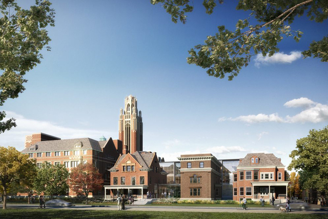 <p>The new extension of the building will link the University of Chicago economics department with office space in former nursery school buildings.</p>