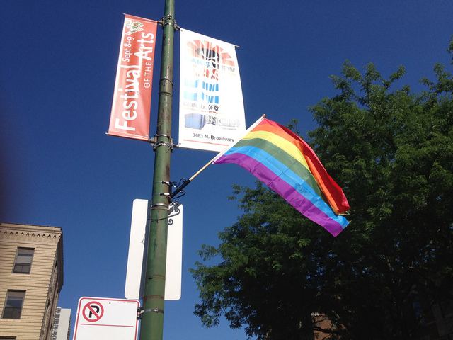 <p>A Gay Pride flag in Lakeview</p>