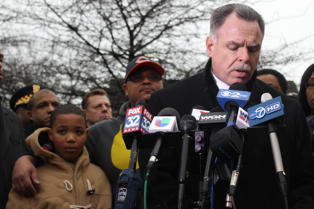 <p>Hadiya Pendleton&#39;s father, brother and members of the community flanked Chicago Police Supt. Garry McCarthy at a news conference Wednesday.</p>