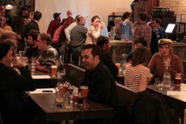 This happy scene at the Half Acre tap room? Not on Mondays.