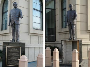 Police are looking for the people/person who vandalized a statue of Harold Washington in the Bronzeville neighborhood.