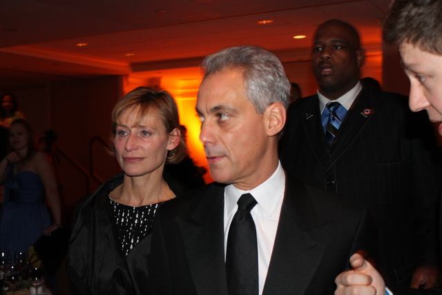 <p>Mayor Rahm Emanuel and his wife, Amy Rule, mingle at the Illinois Inaugural Ball in Washington, D.C., on Saturday.</p>