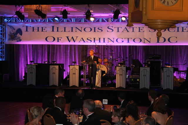 <p>Mayor Rahm Emanuel speaks at the Illinois Inaugural Ball in Washington, D.C., on Saturday.</p>