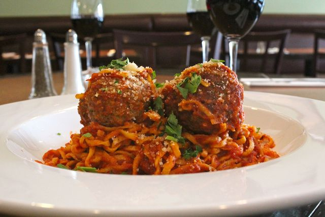 <p>Hand-rolled linguine and homemade meatballs at Isabel&#39;s Restaurant in Lincoln Park.</p>