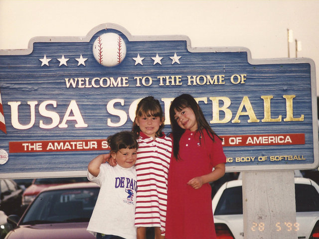 <p>From left, Cate, Gena and Ali Lenti pose for a photo at a USA Softball facility. Gena and Ali play for the DePaul softball team and their dad, coach Eugene Lenti, while Cate said she&#39;ll be attending the school after she graduates from St. Ignatius College Prep.</p>