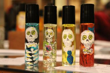 Perfumer Zorayda Ortiz gave a sneak preview of her tamale perfume during 2nd Fridays at Pilsen Vintage and Thrift.
